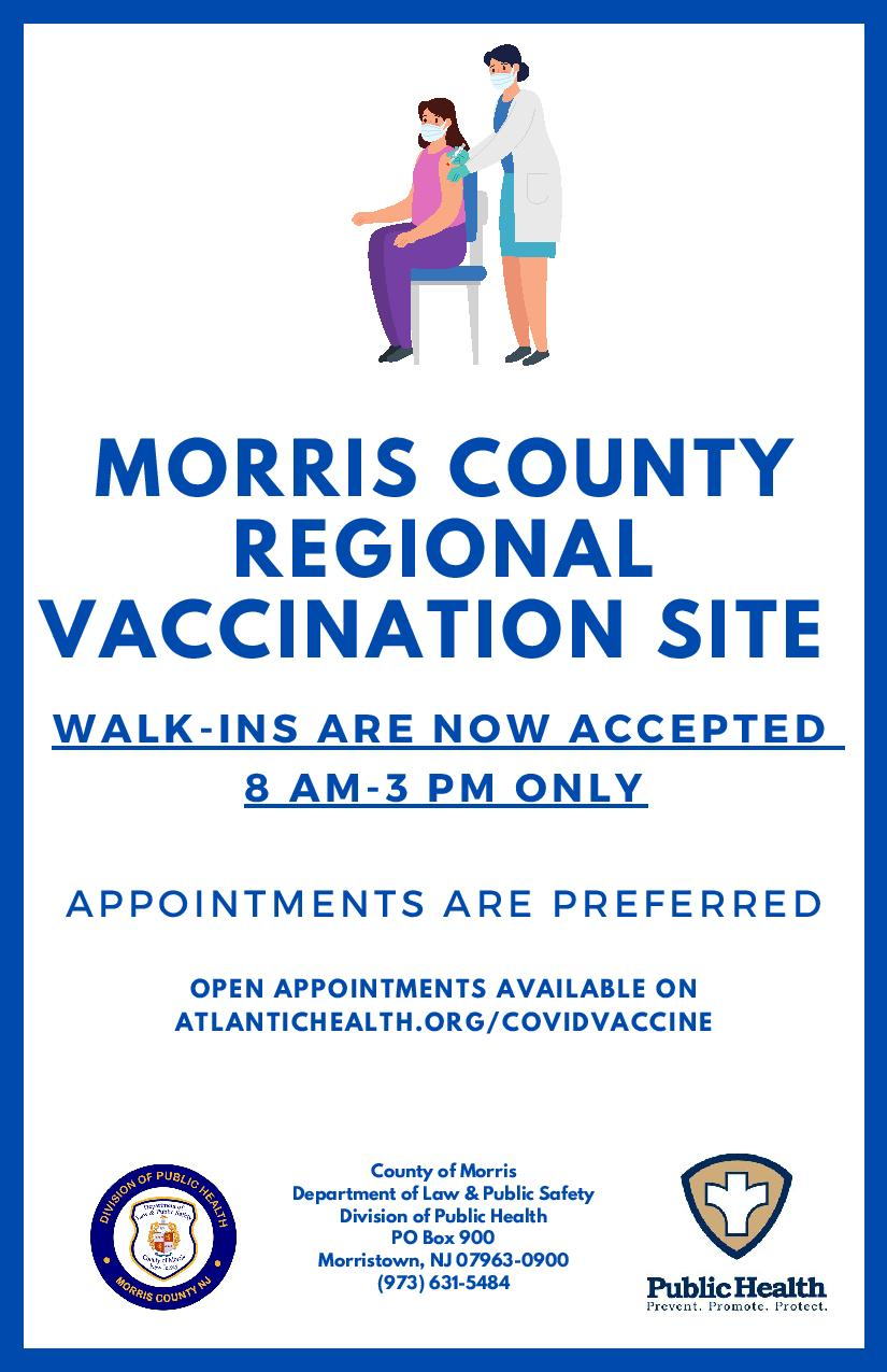 Morris County Regional Vaccination Site Flyer